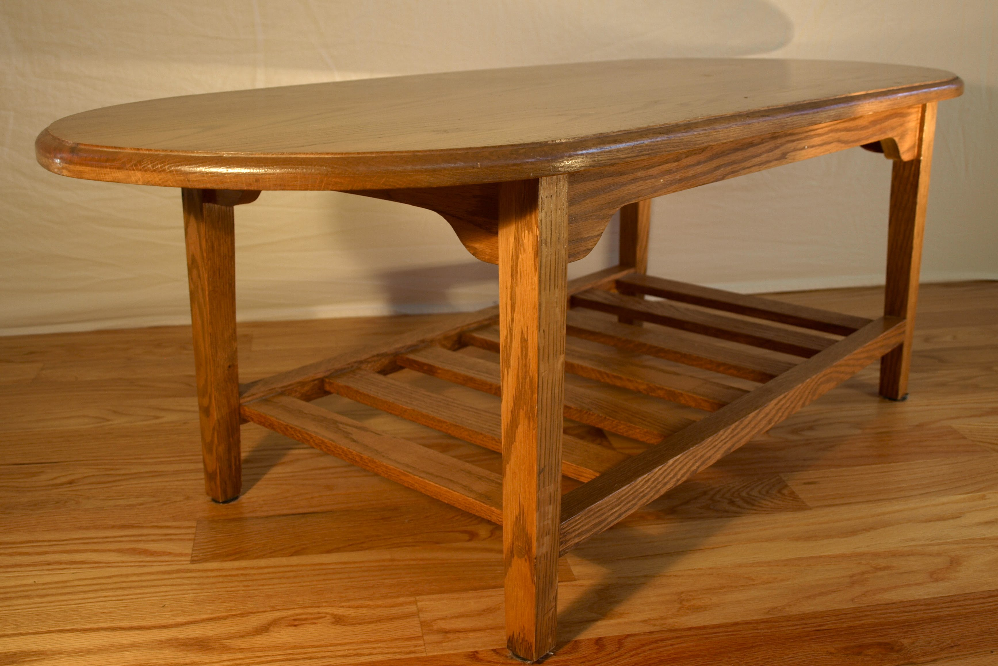Marvelous Simple everyday tables made from red oak three were made oval coffee table square side table rectangular side table Each has a lattice style