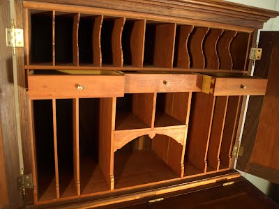Slanted Top Opens To Provide Another Writing Surface And A Large Drawer Inside The Horizontal Struts That Connect Legs Are Thru Mortise With Splines