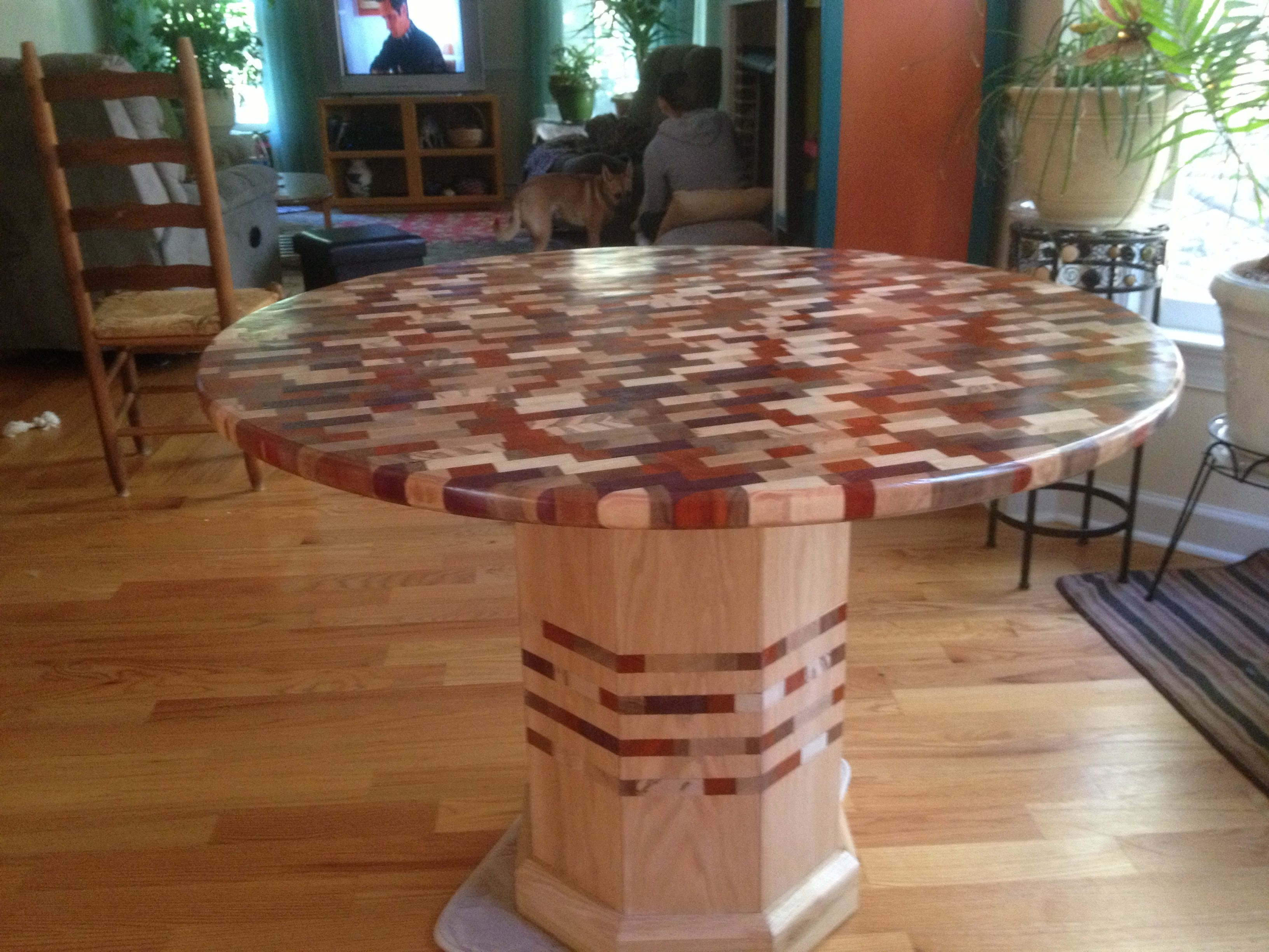 Butcher Block Table, Made From 6 Types Of Wood, All End Grain Pieces